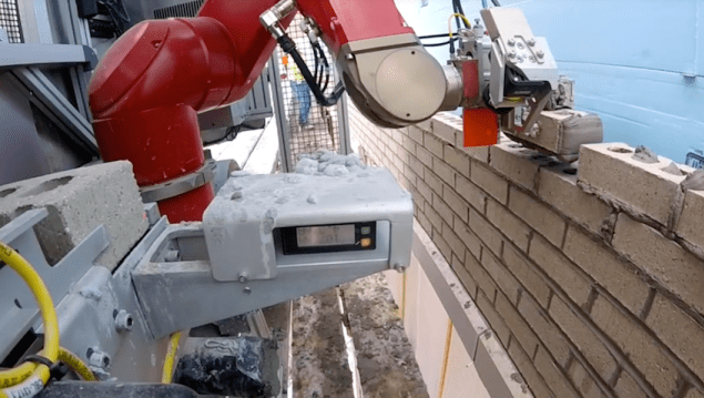 Collaborative Robots Laying Bricks In The Civil Construction Sector.